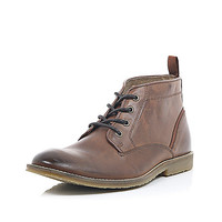 River Island MensBrown leather lace up mid top boots