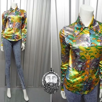 Vintage 90s LIP SERVICE Trippy Shirt Holographic Print Club Kid Top Dagger Collar Groovy Shirt Rave Wear Psychedelic Print 1990s does 1970s