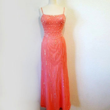 Exquisite Beaded Silk Dress Pink Sweetheart Vintage 1980s  BOB MACKIE Hollywood Glam Bombshell Dress with Train