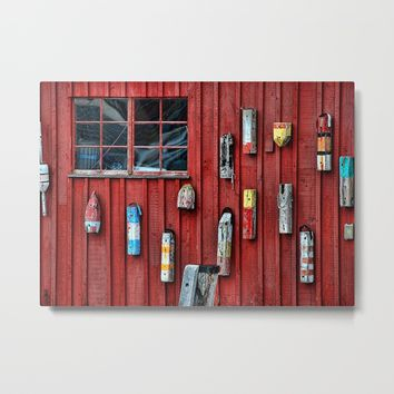 Red Wall Buoy Metal Print by Claude Gariepy