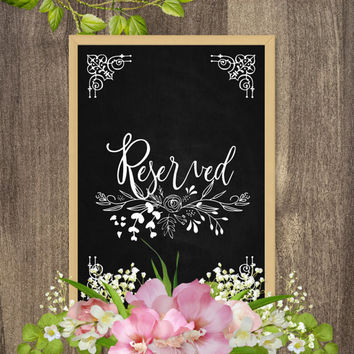 Reserved sign, Reserved table signs, Reserved signs for wedding, Wedding table reserved signs, Chalkboard table signs, Wedding table decor