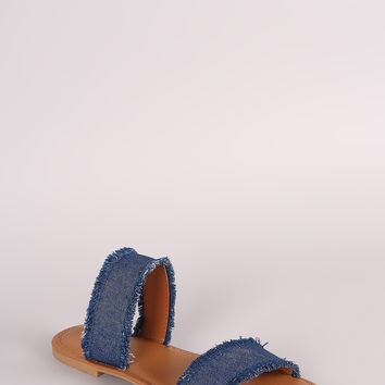 Bamboo Two Band Frayed Denim Slide Sandal