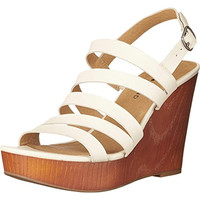 Lucky Brand Womens Larinaa Leather Platform Wedge Sandals