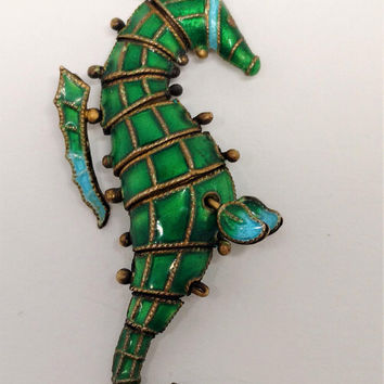 Beautiful Vintage 1930s Sterling Silver Enamel Seahorse Pendant, Articulated so the Seahorse moves, Rare find, perfect gift for your mermaid