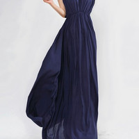 Blue V-Neck Pleated Beam Waist Maxi Dress