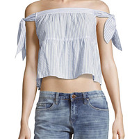Striped Off-The-Shoulder Tiered Top by BCBGMAXAZRIA at Gilt