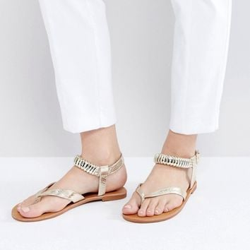 London Rebel Metal Trim Flat Sandal at asos.com