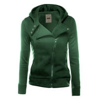 Women Zipper Button Turn Down Collar Long Sleeve Thick Hoodies Sweatshirt