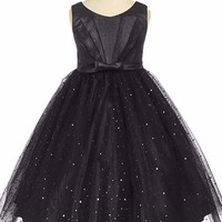 Black Pleated Taffeta Girls Dress with Sparkling Tulle Skirt 2T-12