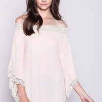 Off Shoulder Crochet Trim Flutter Poncho Top