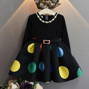 Europe Kids  Autumn Winter Girls Dress Long Sleeve Dot Christmas Princess Dresses Elsa Vestido Infantil Dress Girl Clothes