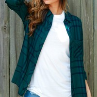 Be Happy Be Plaid Top H. Green