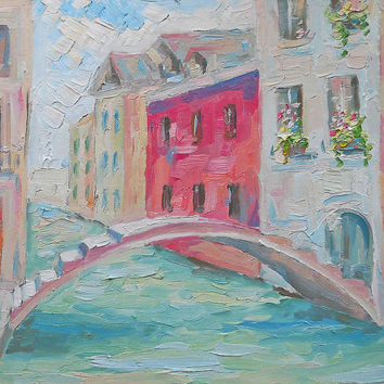 "Original Oil Painting Landscape ""Houses near water"" Custom Impasto Bridge Venice Venezia Italian Nature Still Life Wall Decor Hardboard Art"
