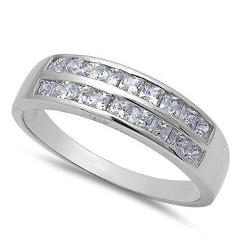 1ct 18 Princess Cut Fine Cz Wedding Engagement Band 925 Sterling Silver Ring Sizes 812