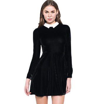 Women Velvet Mini Dress Contrast Collar Long Sleeve A-line Dress Keyhole Back Slim Elegant Skater Dress Plus Size SM6