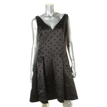 Lauren Ralph Lauren Womens Satin Polka Dot Cocktail Dress