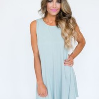 Solid Tank Dress- Light Blue