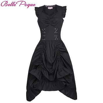 Belle Poque Women Sleeveless V-Neck Lace-up Corset Ruffle Dress 2017 Retro Vintage Steampunk Black Punk Gothic Victorian Dress