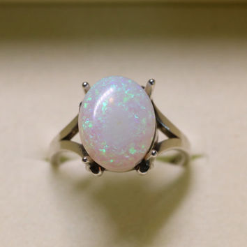 Genuine Opal Ring - Large Australian Crystal Lightning Ridge Opal 14K Ring - CUSTOM