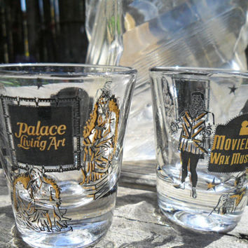 Vintage Mid Century Movieland Wax Museum Los Angeles Souvenir Shot Glass Set of 2