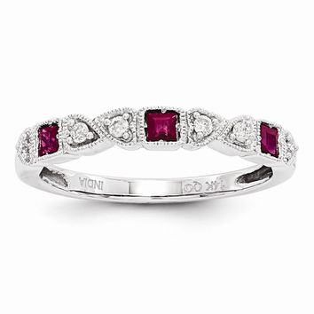 14k White Gold Diamond & Ruby Ring Anniversary