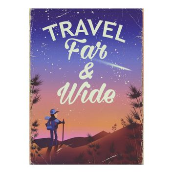 Travel Far and Wide vintage style vacation Poster