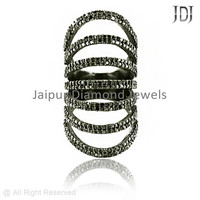 Pave Diamond Rings, Designer 92.5 Sterling Silver Party Wear Jewelry Ring