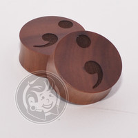Semicolon Engraved Wood Plugs