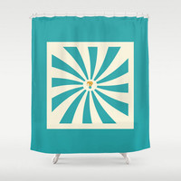 Kids  Teal Shower Curtain Circus Elephant Blue and Cream Vintage Baby Children Child Boy Girl Bath Room Home Decor