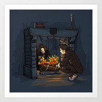 The Witch in the Fireplace Art Print by Karen Hallion Illustrations