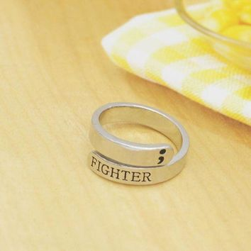 Fashion Semicolon Ring Jewelry Mental Health Awareness Fighter Ring Motivational open Ring Jewelry YLQ0462 Day-First™
