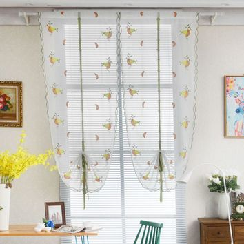 1 PCS Pastoral Tulle Window Roman Curtain Embroidered Sheer For Kitchen Living Room Bedroom Window Curtain Screening fruit print