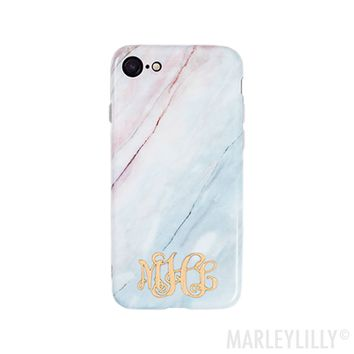Monogrammed Marble Phone Case | Marleylilly