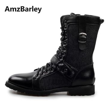 Hot European Luxury Branded Men's Leather Boots Punk Rock Martin Boots Black Mid-calf Leather Shoes Botas Invierno 2016 X080301