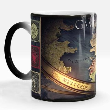 Game of Thrones Winter Is Coming Colored Map Heat Revealing Mug