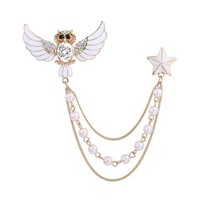 OKAJEWELRY White Crystal Owl Collar Pin Brooch Star Tips with Gold Pearl Link Chain