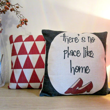 Geometric pattern, quotation, handmade, black and red colour ,Linen cotton ,cushion cover ,pillow case, set of 2 cushion cover 45cmx45cm