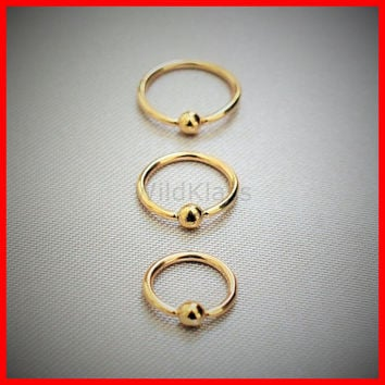 14k Gold Ring 16g Captive Bead Solid Gold Septum Ring Gold Nose Ring Cartilage Earring Helix Piercing Tragus Jewelry Conch Earring Rook Lip