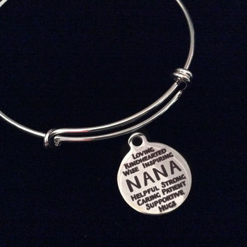 Nana Silver Expandable Charm Bracelet Adjustable Wire Bangle Grandmother Gift