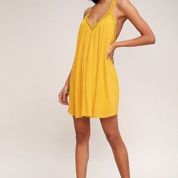 I'm Impressed Mustard Yellow Crochet Dress