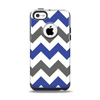 The Gray & Navy Blue Chevron Apple iPhone 5c Otterbox Commuter Case Skin Set
