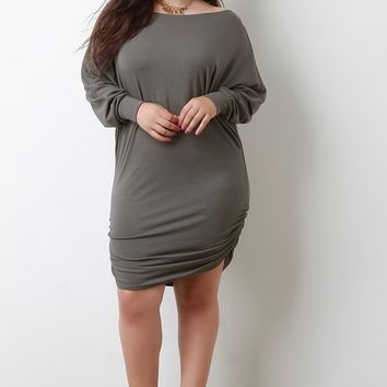 Boat Neck Side Ruched Dolman Sleeve Dress