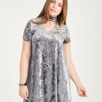 Plus Size Crushed Velvet Keyhole Shift Dress | Wet Seal Plus