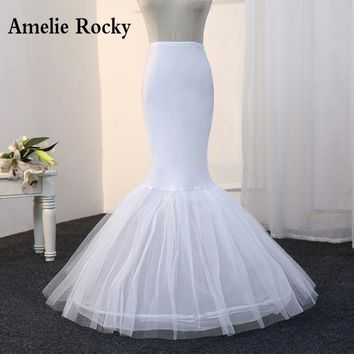 Free Shipping Mermaid Petticoat 1 Hoop Bone Elastic Wedding Dress Crinoline 2017 Bridal Petticoat Cheap
