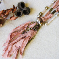 Silk Necklace, Long Tassel Necklace, Double strand Necklace, Bohemian Jewelry, Shabby Chic Necklace, Bridal Jewelry, Fiber art necklace