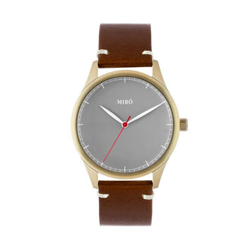 Miró Watches — Grey Face Chocolate Strap — Gold