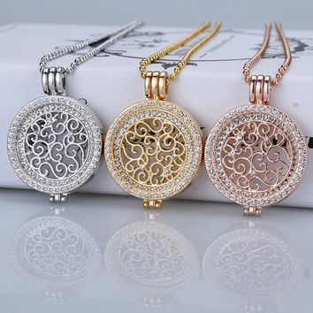 35mm coin necklace sets coin holder fit my 33mm coin pendant disc interchangeable fashion women crystal 80cm bead chain long