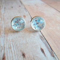 S T A R B U R S T - Turquoise Teal Blue and Silver Metallic Glitter Sparkle Photo Glass Cab Circle Silver Plated Post Stud Earrings