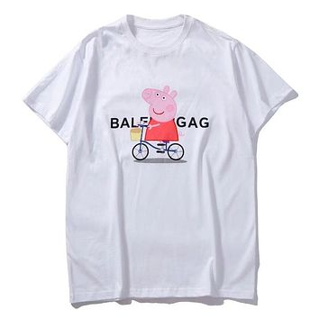 """Balenciaga"" Fashion Women Loose Peppa Pig By Bike Pattern Short Sleeve T-Shirt Top I-GQHY-DLSX"