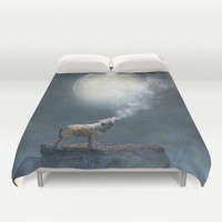 The Light of Starry Dreams (Wolf Moon) Duvet Cover by Soaring Anchor Designs